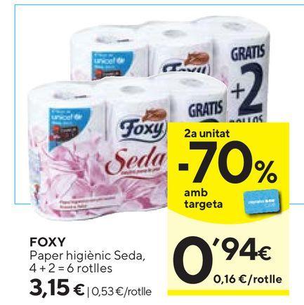 Oferta de Papel higiénico Foxy por 3,15€