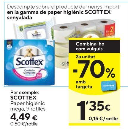 Oferta de Papel higiénico Scottex por 4,49€