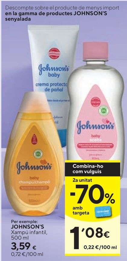 Oferta de Cuidado del bebé Johnson's por 3,59€