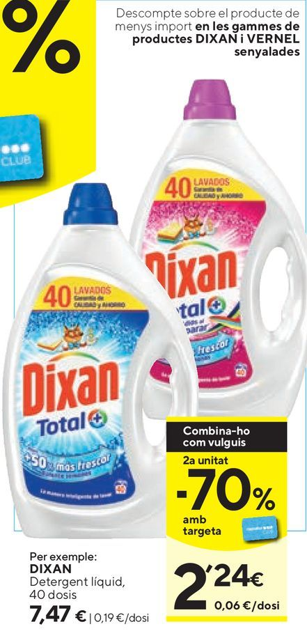 Oferta de Detergente líquido Dixan por 7,47€