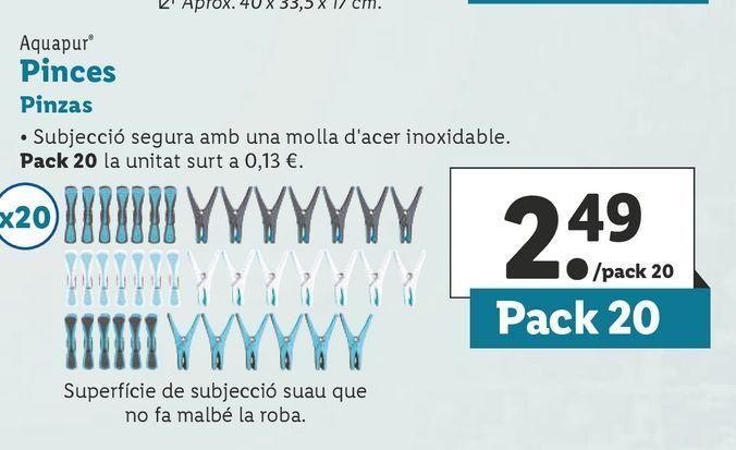 Oferta de Pinzas para ropa aquapur por 2,49€