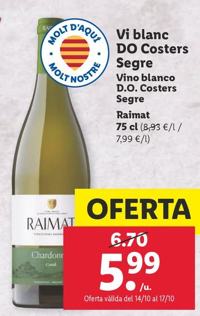 Oferta de Vino blanco Raimat por 5,99€