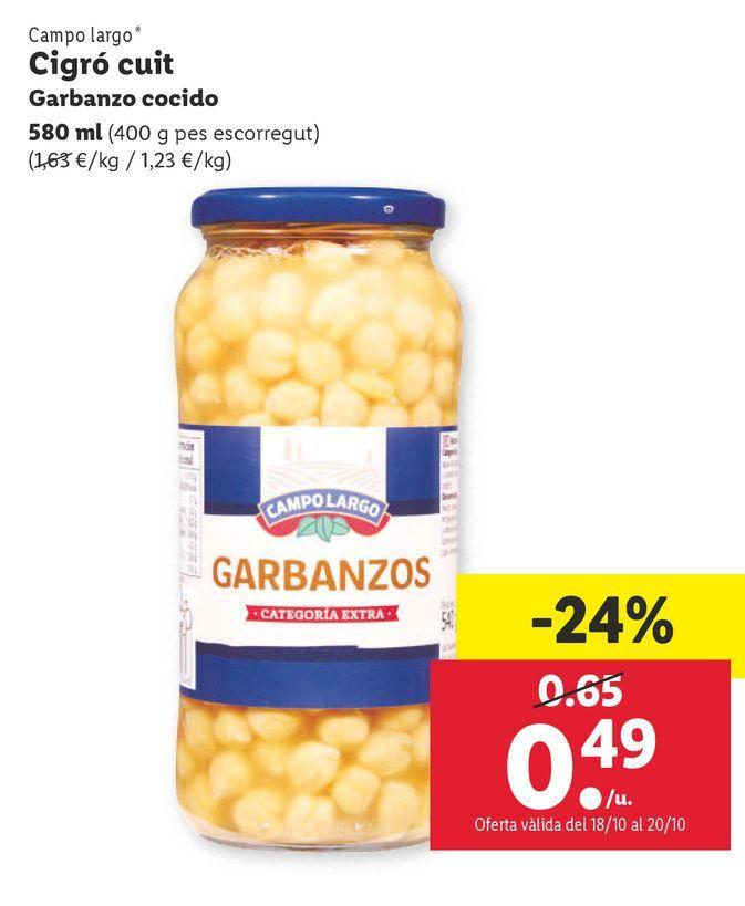 Oferta de Garbanzos cocidos Campo Largo por 0,49€