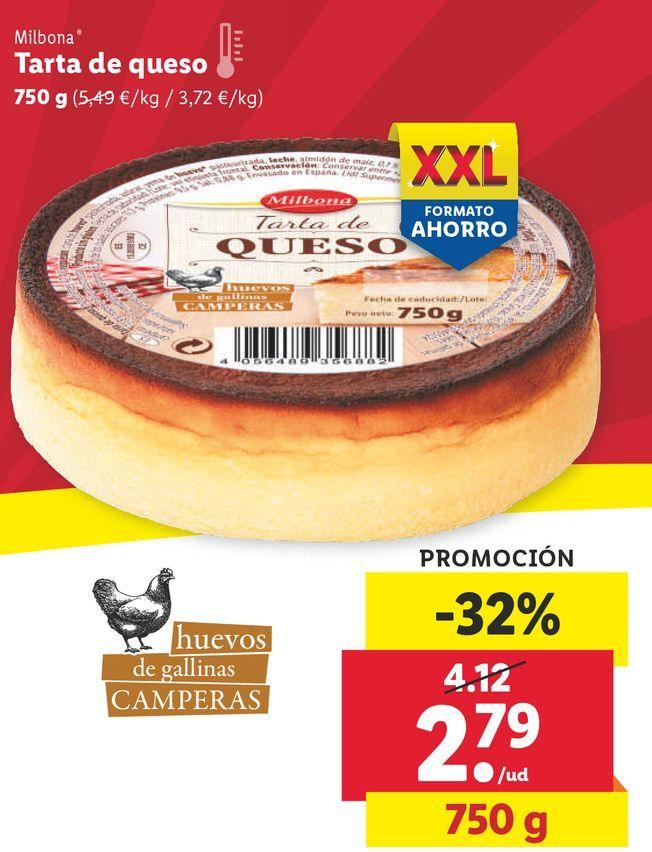 Oferta de Tarta de queso Milbona por 2,79€