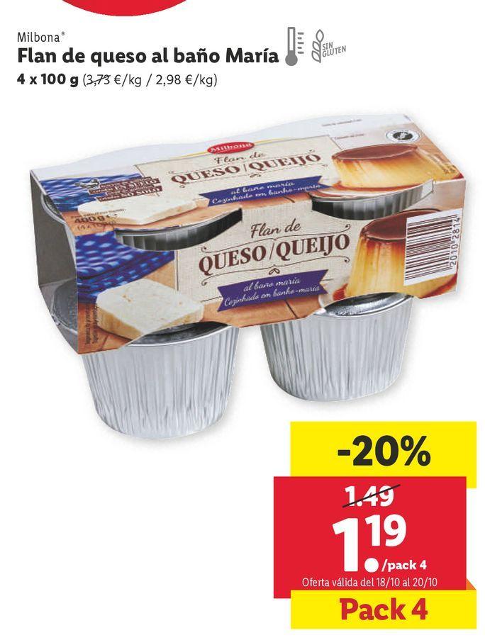 Oferta de Flan de queso Milbona por 1,19€