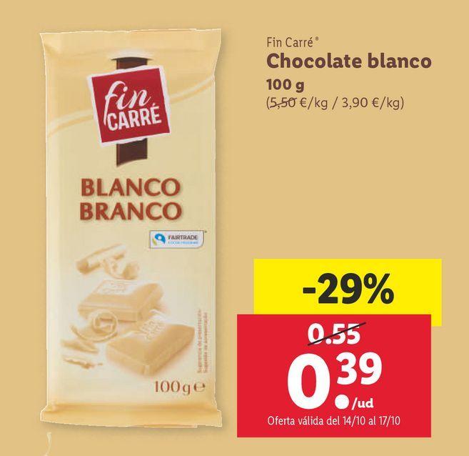Oferta de Chocolate blanco Fin Carré por 0,39€