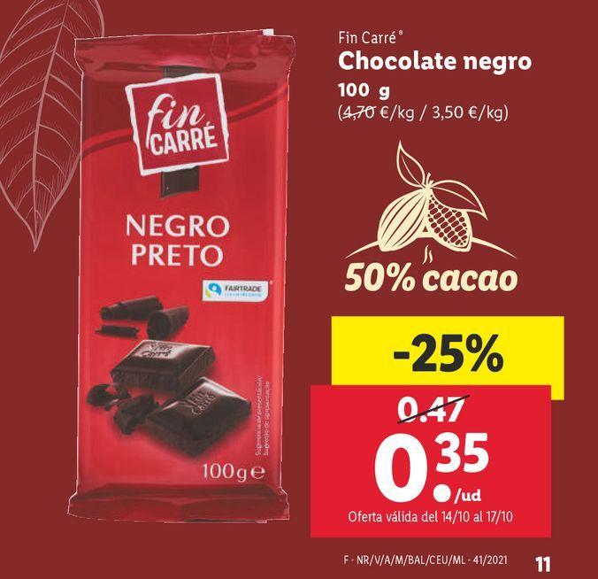 Oferta de Chocolate negro Fin Carré por 0,35€