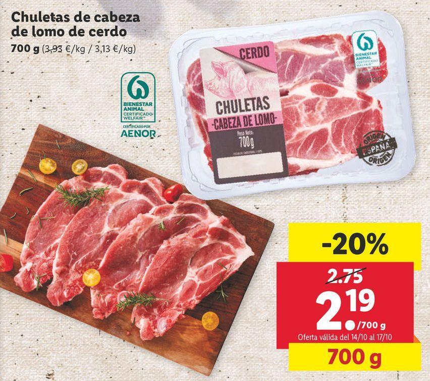 Oferta de Chuletas de cerdo por 2,19€