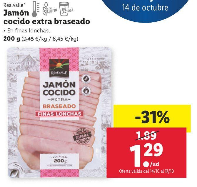 Oferta de Jamón cocido extra Realvalle por 1,29€