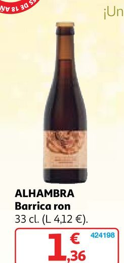 Oferta de Cerveza de barril Alhambra por 1,36€