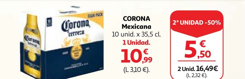 Oferta de Cerveza mejicana Corona por 10,99€