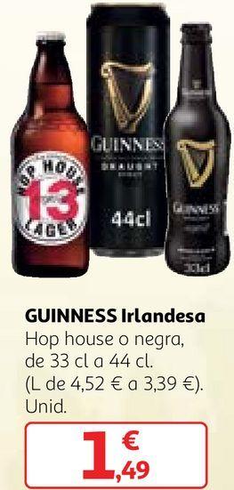 Oferta de Cerveza irlandesa Guinness por 1,49€
