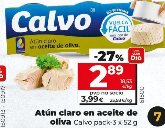 Oferta de Atún claro en aceite de oliva Calvo por 2,89€