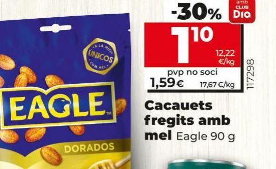 Oferta de Cacahuetes fritos con miel Eagle por 1,1€