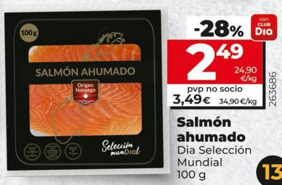 Oferta de Salmón ahumado Dia por 2,49€