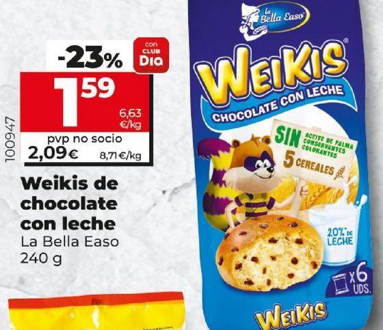 Oferta de Weikis de chocolate con leche La Bella Easo por 1,59€