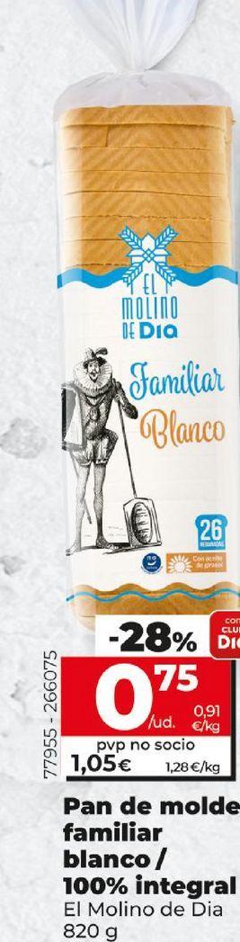 Oferta de Pan de molde familiar blanco / 100% integral El Molino de Dia por 0,75€