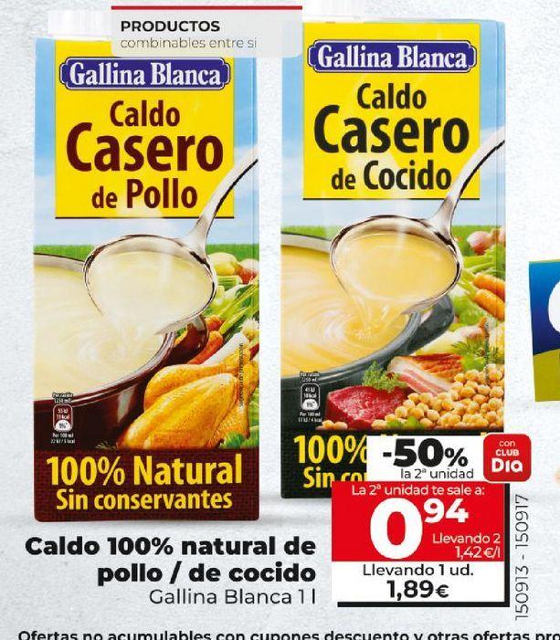 Oferta de Caldo natural de pollo/de cocido Gallina Blanca por 0,94€