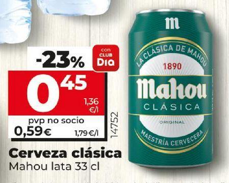 Oferta de Cerveza clasica Mahou lata por 0,45€