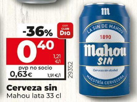 Oferta de Cerveza sin Mahou lata por 0,4€