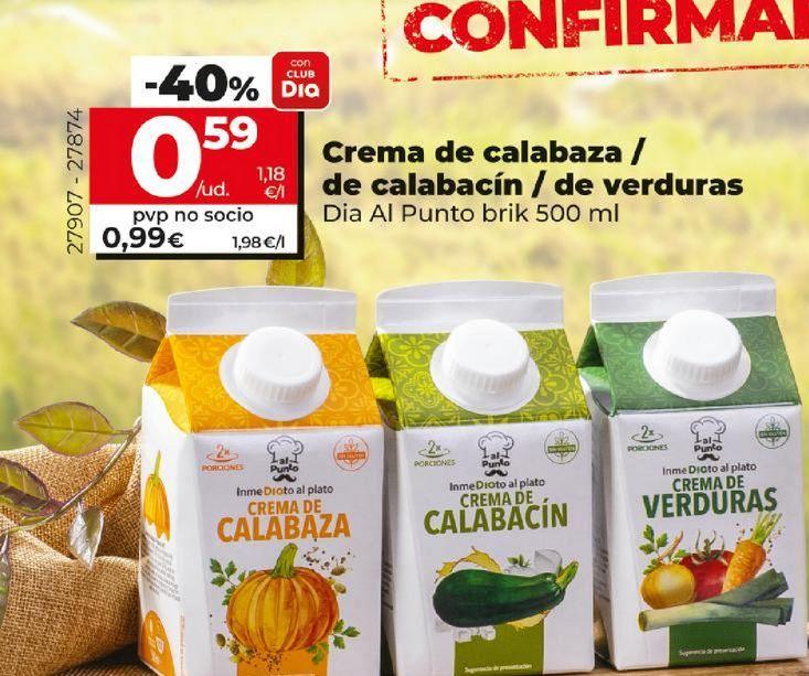 Oferta de Crema de calabaza/de calabacín/ de verduras Dia Al Punto brik por 0,59€