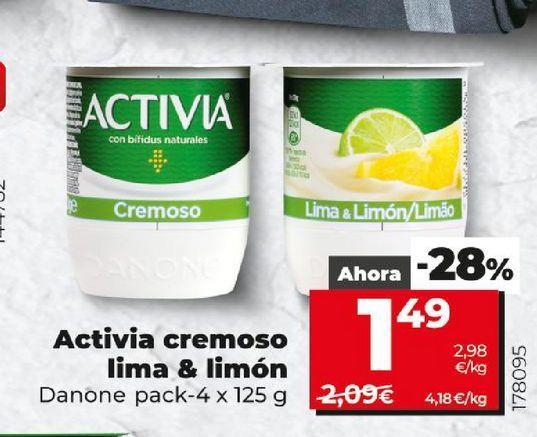 Oferta de Activia cremoso lima & limón Danone por 1,49€