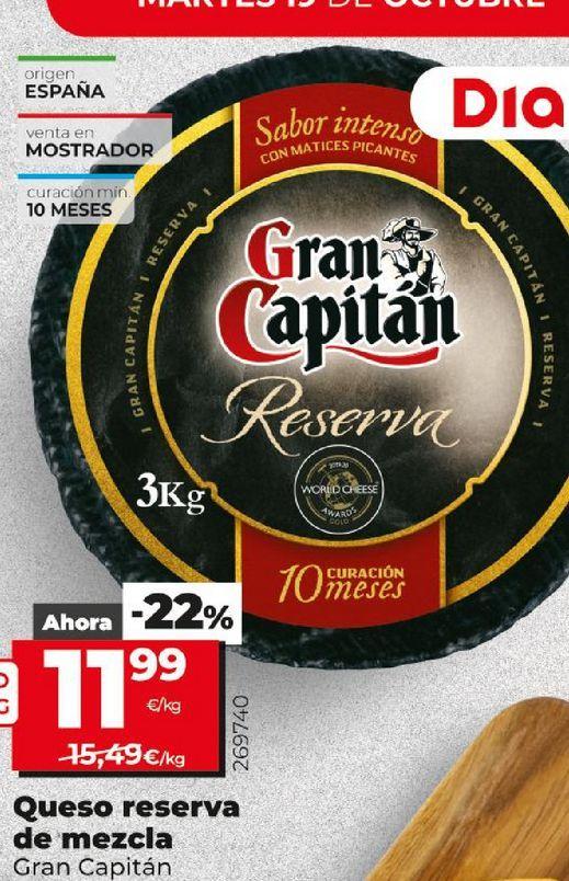 Oferta de Queso reserva Gran Capitán por 11,99€