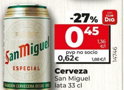 Oferta de Cerveza San Miguel por 0,45€