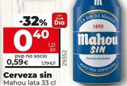 Oferta de Cerveza sin alcohol Mahou por 0,4€