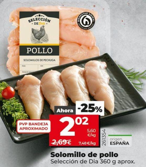 Oferta de Solomillo de pollo por 2,02€