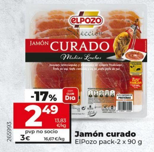 Oferta de Jamón curado elpozo por 2,49€