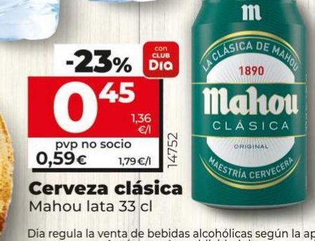 Oferta de Cerveza Mahou por 0,59€