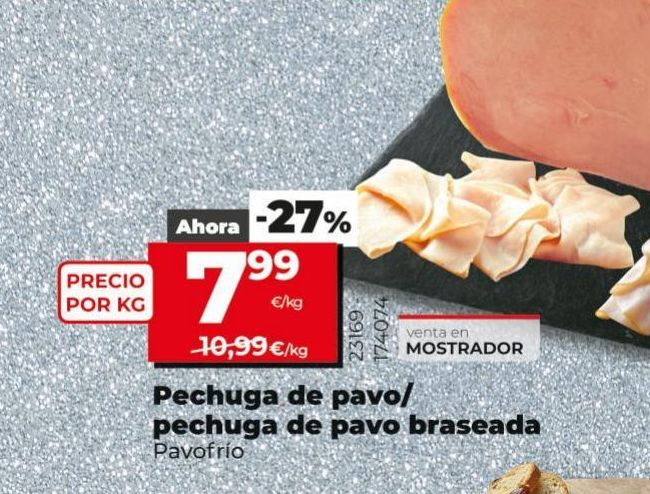 Oferta de Pechuga de pavo Pavofrío por 7,99€