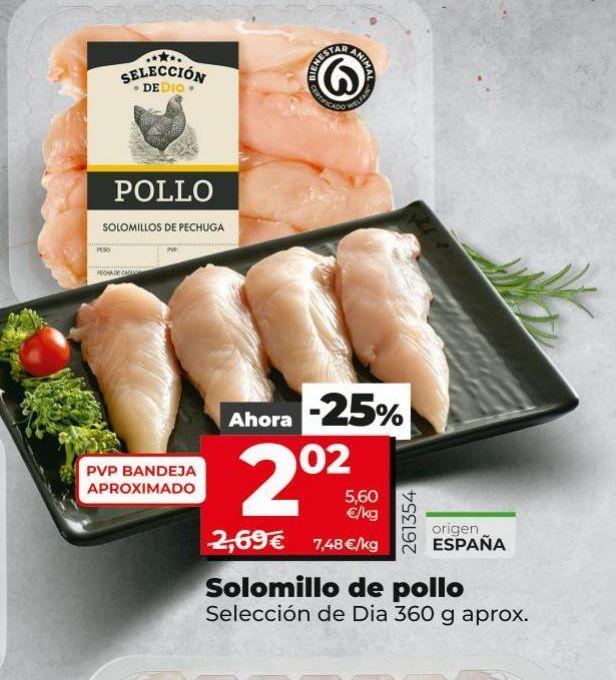 Oferta de Solomillo de pollo Dia por 2,02€