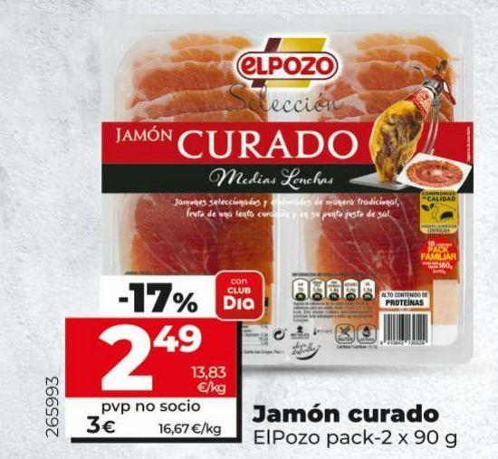 Oferta de Jamón curado elpozo por 3€
