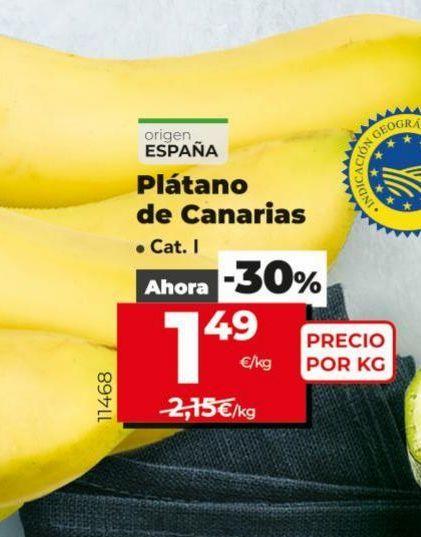 Oferta de Plátanos de Canarias por 1,49€