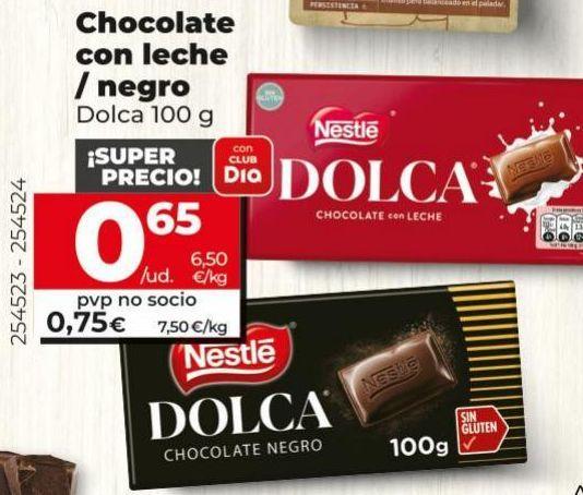 Oferta de Chocolate con leche Dolca por 0,75€
