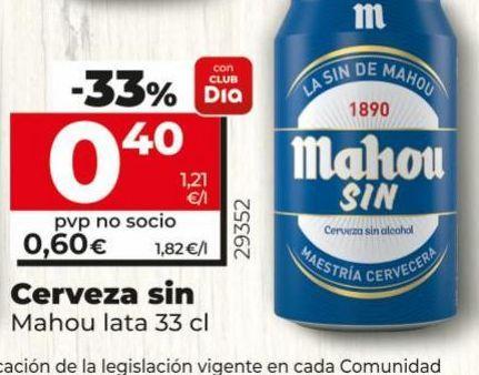 Oferta de Cerveza sin alcohol Mahou por 0,6€