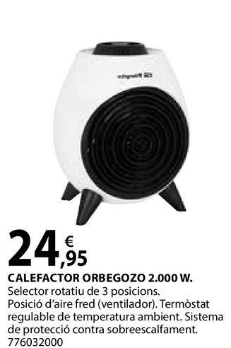 Oferta de Calefactor Orbegozo 2.000W por 24,95€