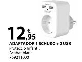 Oferta de Adaptador 1 schuko + 2 USB por 12,95€
