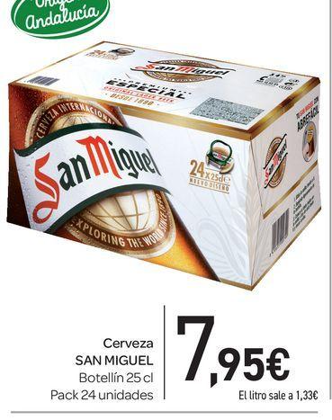 Oferta de Cerveza San Miguel, botellín 25 cl, pack 24 uds por 7,95€