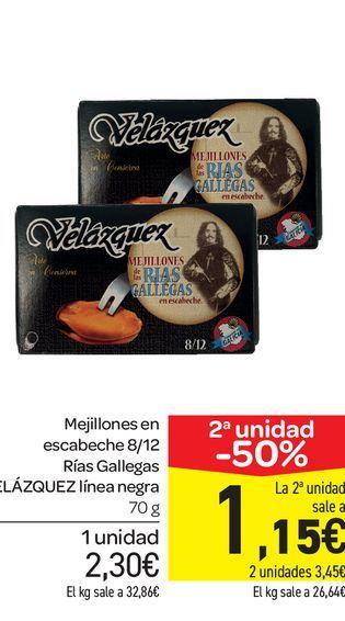 Oferta de Mejillones en escabeche 8/12 Rías Gallegas VELÁZQUEZ línea negra 70 g por 2,3€
