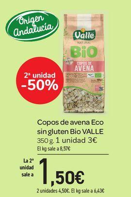 Oferta de Copos de avena Eco sin gluten Bio VALLE 350 g por 3€