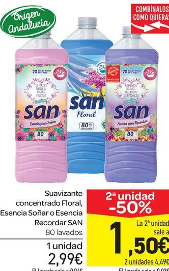 Oferta de Suavizante concentrado Floral, Esencia Soñar o Esencia Recordar San, 80 lavados por 2,99€