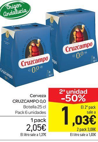 Oferta de Cerveza Cruzcampo 0,0 botella 25 cl, pack 6 uds por 2,05€