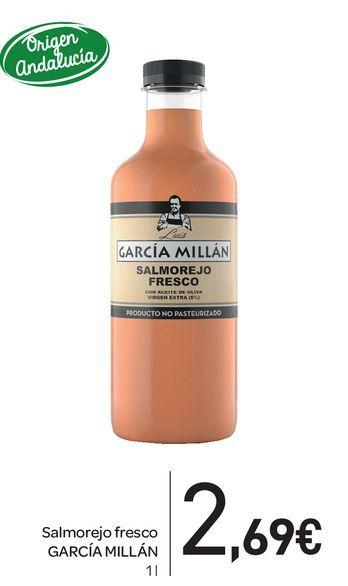 Oferta de Salmorejo fresco García millán 1L por 2,69€