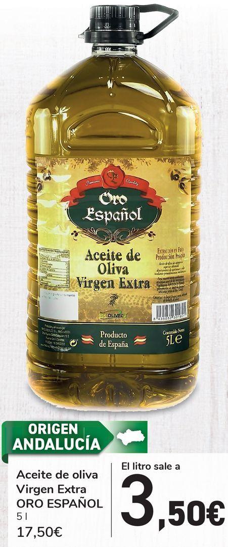 Oferta de Aceite de oliva virgen extra Oro Español 5L por 17,5€