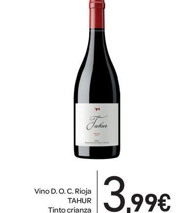 Oferta de Vino D.O.C Rioja TAHUR tinto crianza por 3,99€