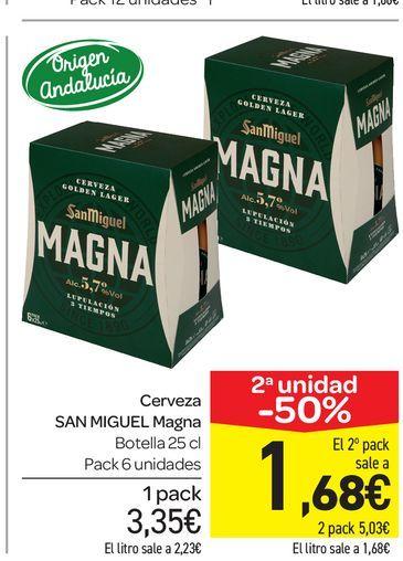 Oferta de Cerveza San Miguel Magna botella 25 cl, pack 6 uds por 3,35€