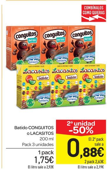 Oferta de Batidos Conguitos o Lacasaitos 200 ml, pack de 3 uds por 1,75€